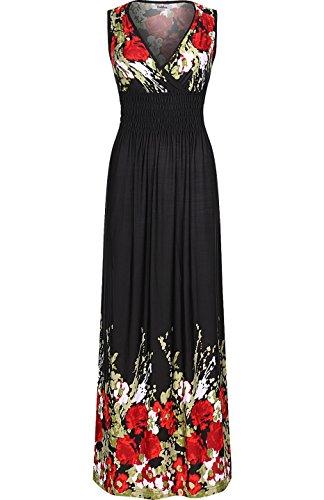 2luv-womens-sleeveless-floral-smocked-waist-summer-dress-black-m