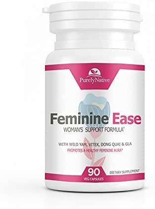 Feminine Ease Hormonal Balance Supplement for PMS, PMDD, Cramps, Menopause, Hot Flashes & Mood Swings – Gluten Free, Vegan Friendly Hormone Balancing Pills – 90 Vitamins to Balance Hormones