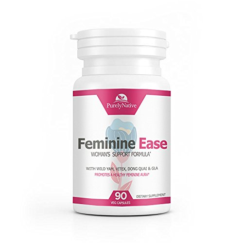 Feminine Ease Hormonal Balance Supplement for PMS, PMDD, Cramps, Menopause, Hot Flashes & Mood Swings - Gluten Free, Vegan Friendly Hormone Balancing Pills - 90 Vitamins to Balance Hormones