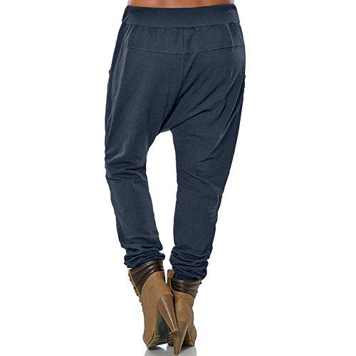 Taille Extensible Boutons Femmes Décontracté Haute Crayon Avec Pantalon Amuster Poche Navy Pour Femme 48qHW