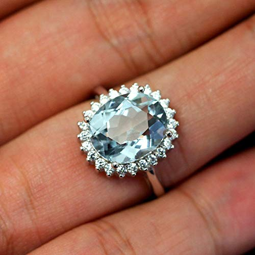 - CHIC! Blue Aquamarine Rings, Created Aquamarine, White Gold Plated Silver Ring, March Birthstone, Engagement Ring, Princess Diana Ring