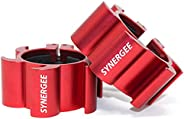 """Synergee Aluminium Barbell Collars – Locking 2"""" Olympic Size Weight Clamps - Quick Release Collar Clips –"""