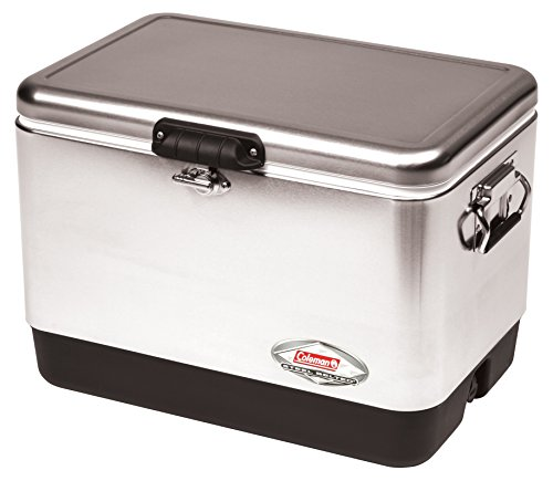 Coleman 54 Quart Steel Belted  Cooler - Stainless Steel