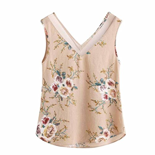 CUCUHAM Women Floral Casual Sleeveless Crop Top Vest Tank Shirt Blouse Cami Top (M, Khaki)