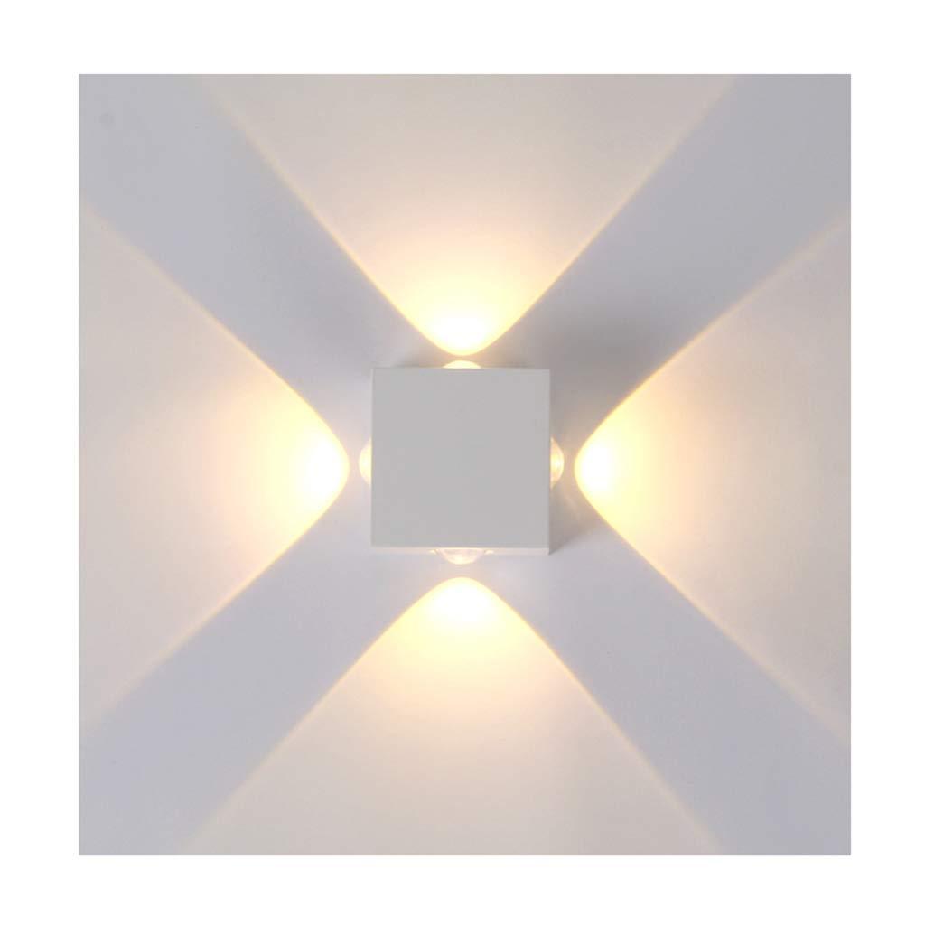 QQB Außenleuchte Wandleuchten LED Wasserdicht Indoor Outdoor Hof Außenwand Hintergrund Wandleuchte (Größe   4 Heads)
