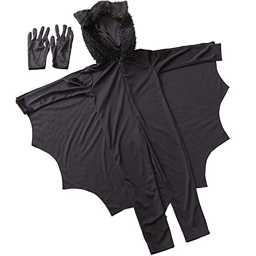 Child Cosplay Cute Bat Costume Kids Halloween Jumpsuit with Wings Gloves Performance Black L