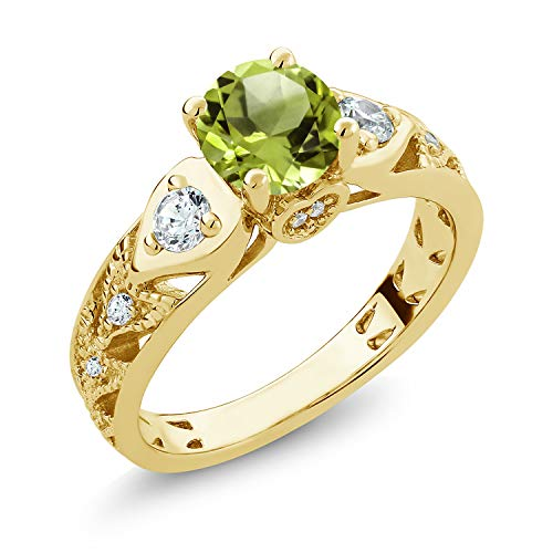 Gem Stone King 2.11 Ct Round Green Peridot 18K Yellow Gold Plated Silver Engagement Ring (Size 7)