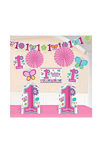 Flowers and Butterflies Girl's 1st Birthday Party Assorted Room Decorating Kit, 10-Piece, Assorted Sizes