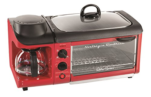 Nostalgia BSET300RETRORED Retro Series 3-in-1 Family Size Breakfast Station (Small Toaster Oven Red compare prices)