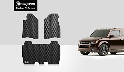 ToughPRO-Honda-Element-Floor-Mats-3-pc-set-All-Weather-Heavy-Duty-Black-Rubber-2007-2011