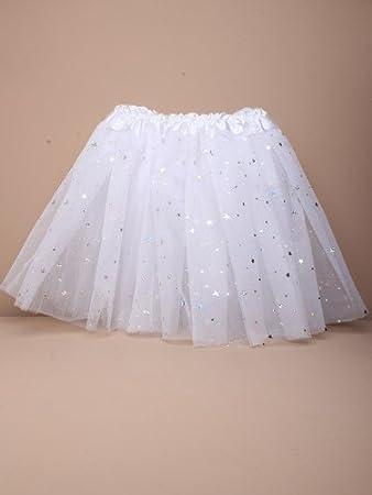 White Sparkly Tutu Skirt Girls Fancy Dress