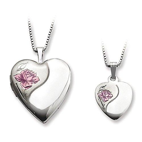 Argent Sterling poli et satiné Rose Médaillon en forme de cœur et pendentif-JewelryWeb