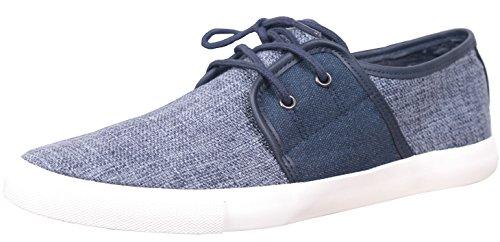 WGWJM Männer Casual Skate Schuhe Runde Kappe schnüren sich klassische Segeltuchschuhe Blau