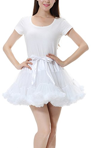 Adult Short White Crinoline (OXYVAN Women's Vintage Bubble Skirt Crinoline Tutu Short Tulle Petticoat Ballet Underskirts)