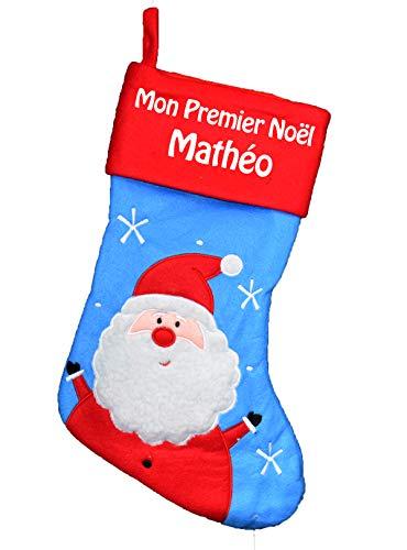 Chaussette de Noël à personnaliser motif Pére Noël chaussette Bleu Mon Premier Noël
