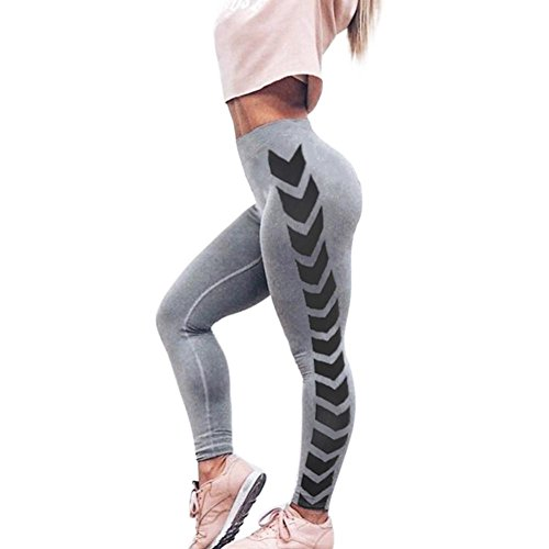 Print Leggings Splice Yoga Workout Gym Leggings Fitness Sports Cropped Pants (Gray, M) (Out Arrow)