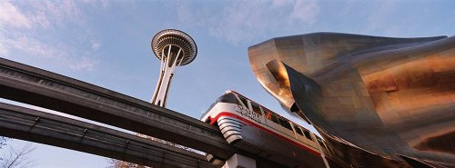 Walls 360 Peel & Stick City Skyline Wall Murals: Monorail And Space Needle Seattle (72 in x 26.75 -