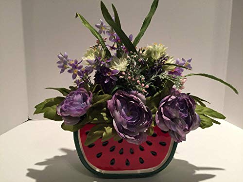 WATERMELON PLANTER WITH LAVENDER CABBAGE ROSES AND MIXED FLORAL - SUMMER - EASTER - MOTHERS DAY - BIRTHDAY - ANNIVERSARY - ELDERLY LIVING RESIDENCE - TEACHER APPRECIATION - GRADUATION - NUSERY DECOR (Hand Painted Lavender Planter)
