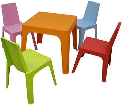 resol Julieta set infantil para interior, exterior, jardín - 1 Mesa Naranja + 4 Sillas Roja/Rosa/Azul/Lima