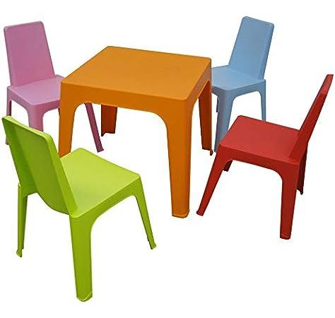 resol Rita set infantil de 2 sillas y 1 mesa para interior, exterior, jardín - color rosa: Amazon.es: Hogar