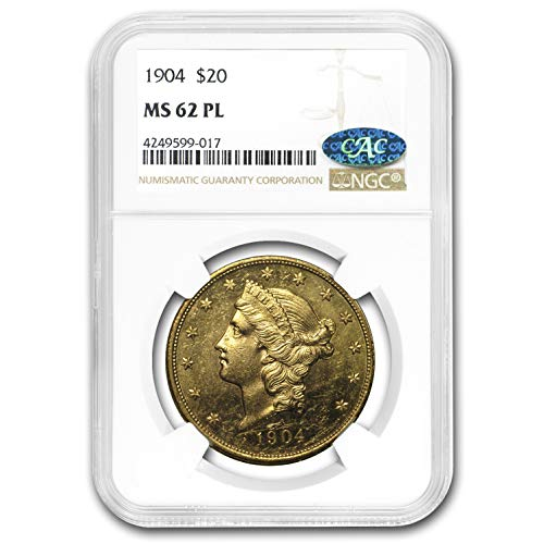 1904 $20 Liberty Gold Double Eagle MS-62 NGC (PL, CAC) G$20 MS-62 NGC