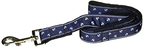 Ribbon Leash Nylon Anchors (Mirage Pet Products Anchors Nylon Ribbon Leash for Pets, 1-Inch by 4-Feet, Blue)