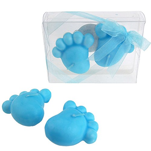 Baby Footprint Floating Candle Favors, 4-1/4-Inch, 2-Pack (Blue)