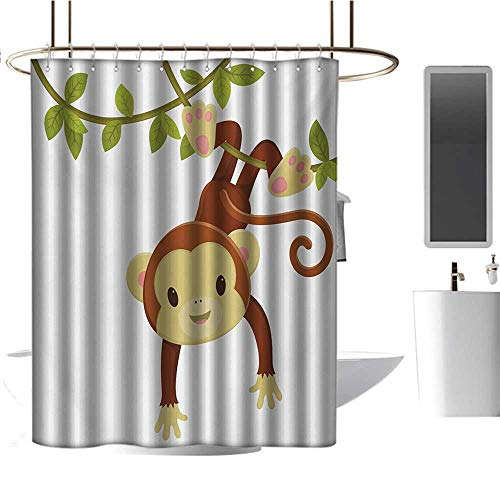 Qenuan Home Decor Shower Curtain by Nursery,Cute Cartoon Monkey Hanging on Liana Playful Safari Character Cartoon Mascot,Brown Green Pink,Rustproof Metal Grommets Bathroom Shower Curtain 54