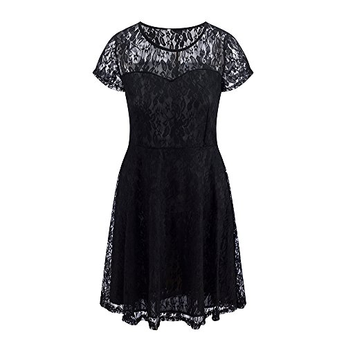 Through Party Neck Evening Short Bewish Dress Round Out Dress See Hollow Lace Sleeve Black Swing Women's Floral n4SB8q