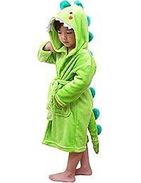 LOLANTA Boys' Girls' Hooded Bathrobe Soft Animal Plush Robe Kids Sleepwear Dressing Gown Gift