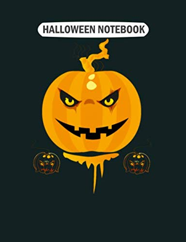 Halloween Gif Cute (Halloween Notebook: scary halloween pumpkin gifs  College Ruled - 50 sheets, 100 pages - 7.44 x 9.69)