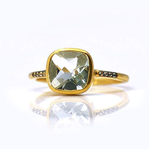 Green Amethyst Pave Ring, Vermeil Gold or Sterling Silver, February Birthstone ring