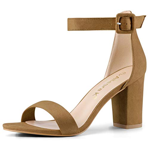 Allegra K Woman Chunky High Heel Ankle Strap Sandals Size US 8.5 Camel]()