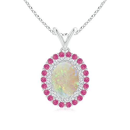 Oval Opal Pendant with Double Diamond and Pink Sapphire Halo in Platinum (9x7mm Opal)