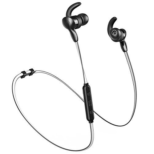 Bluetooth In-Ear Wireless Headphones by Brisario - Cordless Earbuds with Mic, Sweat-proof, HD Sound, 10 Hours Playback and Fluorescent Neckband for Gym, Workout, Running and Gaming