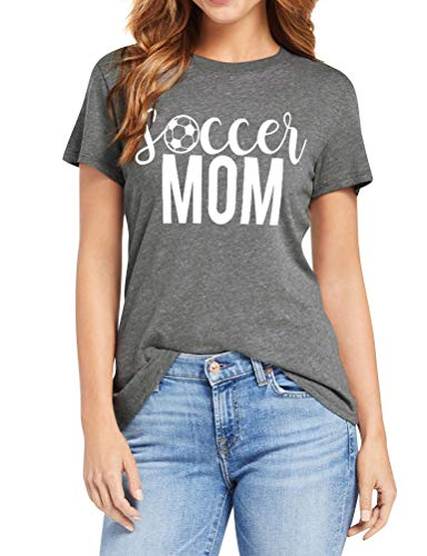 aa5b6394a8be ZXZY Women Round Neck Soccer Graphic Mom Letter Print Short Sleeve Shirts  Tee Gray
