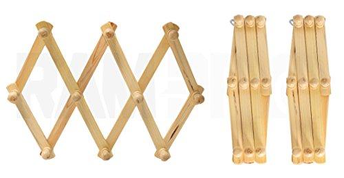 Hook Style Racks - Set of 3 RAM-PRO Accordion Style Wood Expandable Wall Rack For Hat, Cap, Belt, Umbrella Coffee Mug Jewelry Hanging wooden Pegs
