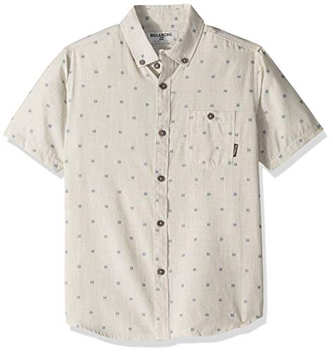 Billabong Boys' All Day Jacquard Short Sleeve Shirt Stone Heather X-Large