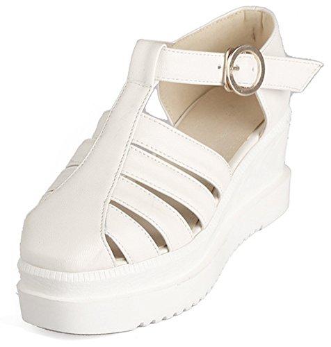 Aisun Bout Rond Semelle Blanc Mode Plateforme Epaise Sandales Femme rFqwxvnrgP