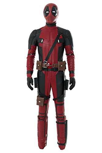 Valorsoul Mens Cosplay Costume Deluxe Full Body Suits Leather Jumpsuit Outfit Halloween Costume Black/Red]()