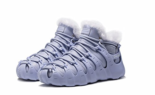 ONEMIX Mens Fur Lined Sneakers,Three Ways Of Wearing Roman Shoes,Ankle High Winter Boots Grey