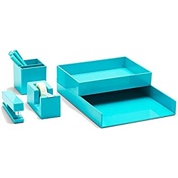 Poppin All Set, Desk Collection Set, Aqua