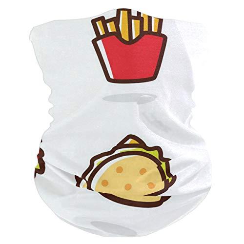 Cartoon Fast Food Balaclava Womens Headband Scarf Mens Bandana,Muffler,Neck Gaiter,Magic,Hatliner Tube