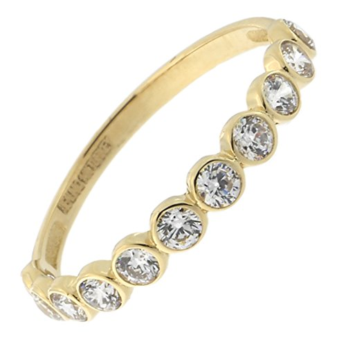 14k Yellow Gold Bezel Set Cubic Zirconia Band Ring, Size 7