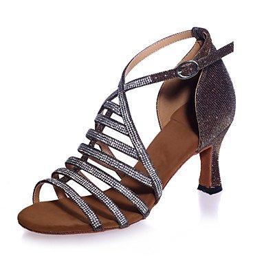 XIAMUO Nicht anpassbar - Die Frauen tanzen Schuhe funkelnden Glitter funkelnden Glitter Latein Sandalen abgefackelt HeelPerformance/Praxis/Professional/, Schwarz, US 8 / EU 39/UK6/KN
