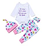 KpopBaby Set Pants Set Baby Newborn Girls Boys Letter Heart Jumpsuit Outfits 4Pcs