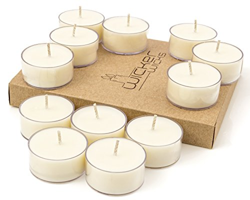 (Wicker Wicks Soy Tealight Candles, Unscented and Handmade - 12 Count, White - Tea Lite Candle Set with Premium Soy Wax - Long Lasting, Clean Burn - Organic, Non Toxic Healthy Candles - Eco Friendly)