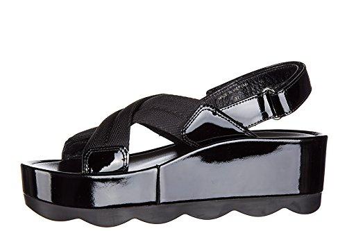 nuevo negro piel sandalias mujer en Prada x1vIIO