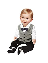 Infant Baby Boy SuitLong Sleeve Rompers Infant Outfit Onesie with Bow tie