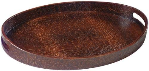 EuroLuxHome Tray Traditional Table Top Mock Croc Resin New Hand-Painted Hand-Cast Pai